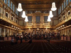 Gearing up for a concert at the Musikverein