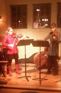 "Playing some Bartok duos and an improv piece that I wrote (""For Leah"") at the Carriage House show with the lovely Susan Waterbury..."