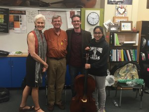 "The first recipient of the ""Sparks"" cello, Ceci, with Mr. Krijnen and the Rankins"
