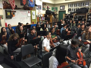 "1/4 of Scott's ""00"" hour (a before-school elective orchestra) -- a collection of 100 dedicated pre-teens who want to make music"