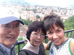 My aunt & uncle and I at the Brescia castle! Gli zii ed io al castello di Brescia!