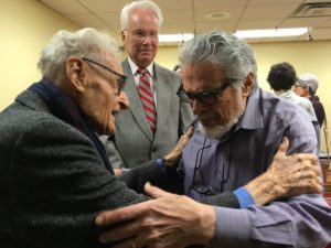 Two giants -- Stan Skrowaczewski and Leon Fleisher greet each other backstage at the CMSM
